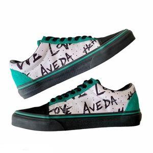 "LIKE NEW Women's VANS ""We Love Aveda"" Green Black"